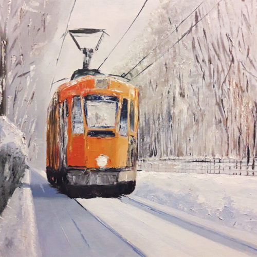 Il tram nella neve