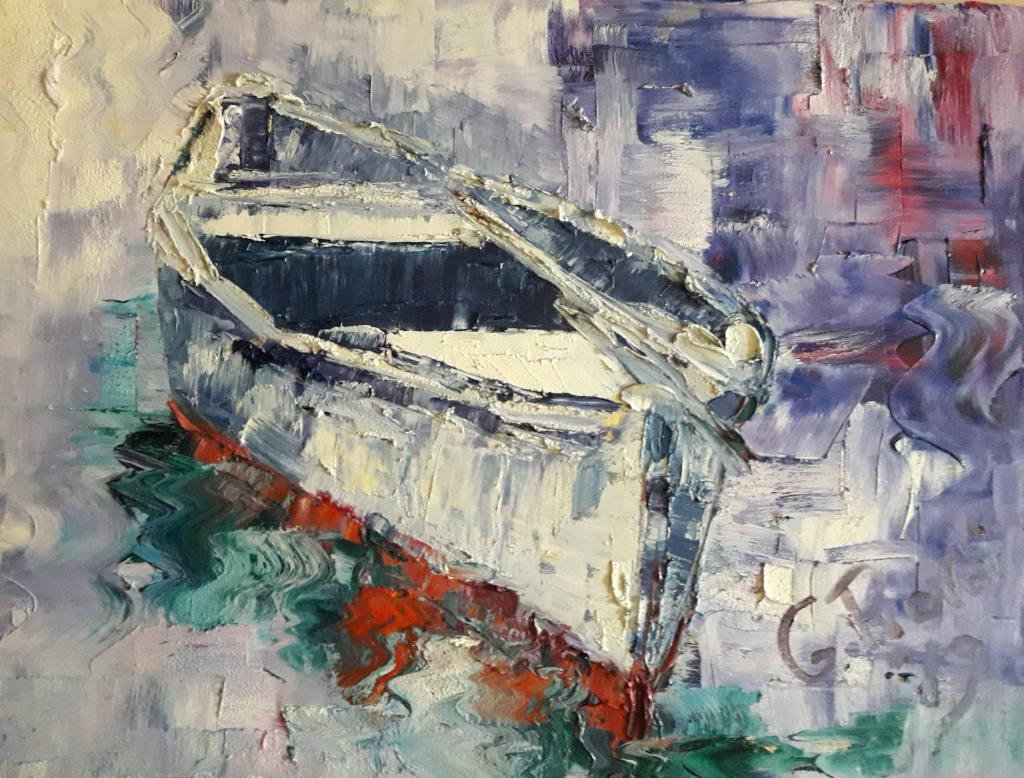 Barca rossa e bianca.