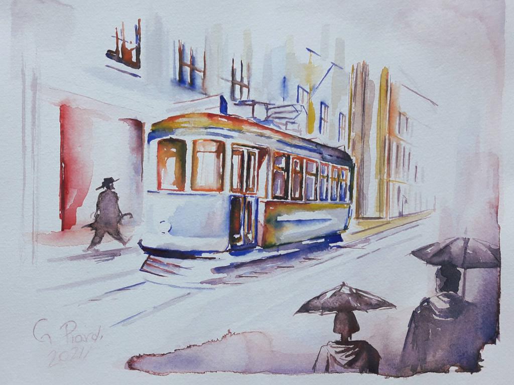 """""""Lisbona, il tram in un giorno di pioggia"""""""